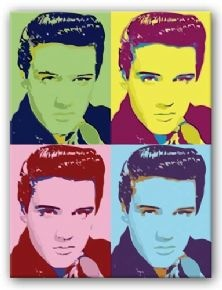 This Elvis Screen Print uses Warhol's famous bright and neon colours, with little attention paid to detail. It also uses his well debated repitition that he is most known for.
