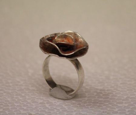 gümüş gül yüzük - silver ring