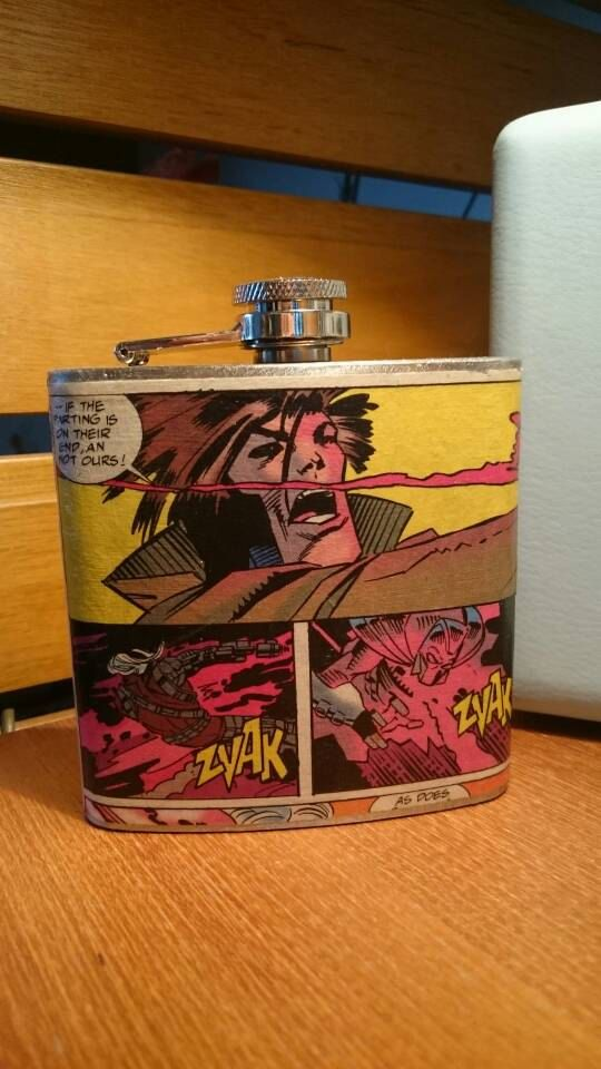 Hey, I found this really awesome Etsy listing at https://www.etsy.com/uk/listing/493742311/x-men-gambit-comic-hip-flask