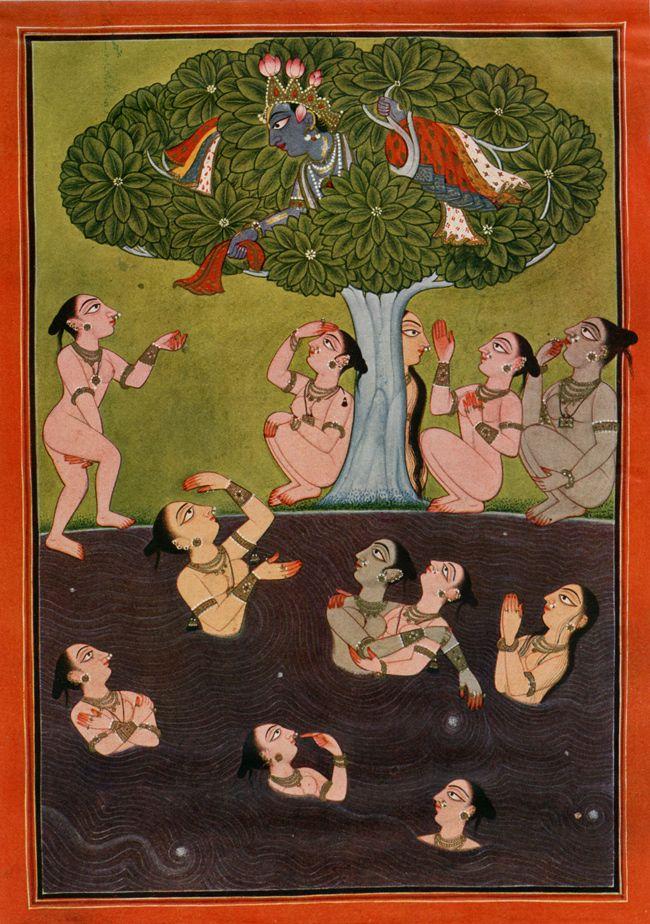 On the Threshold of Youth, illustration to the Rasamanjari, Basohli, c. 1695 swimming anyone?