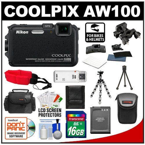 Nikon Coolpix AW100 Shock & Waterproof GPS Digital Camera (Black) with 16GB Card + Handlebar & Helmet Mount + Battery + Case + Floating Strap + Tripod + Kit by Nikon. $319.95. Kit includes:♦ 1) Nikon Coolpix AW100 Shock & Waterproof GPS Digital Camera (Black)♦ 2) Transcend 16GB SecureDigital Class 4 (SDHC) Card♦ 3) Drift Innovation Handlebar Mount♦ 4) Drift Innovation Helmet Mount♦ 5) Spare EN-EL12 Battery for Nikon♦ 6) Floating Foam Camera Strap (Red)♦ 7) PD-T...