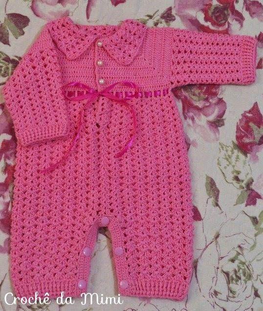 """Macacão de crochê para bebe - Parte 1 ~ """"Crochê da Mimi"""""""