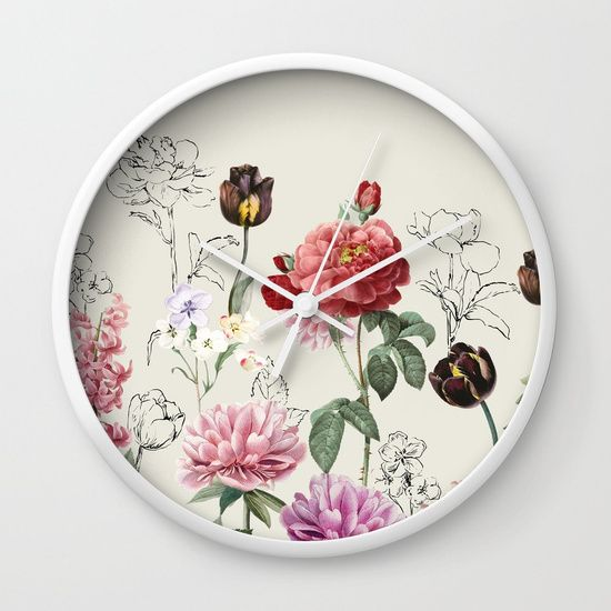 Flowers illustraion Wall Clock