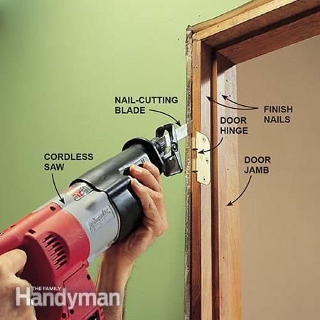 Reciprocating Saw Uses: Using a reciprocating saw to cut the nails anchoring a door jamb to the rough opening. http://www.familyhandyman.com/tools/saws/reciprocating-saw-uses/view-all