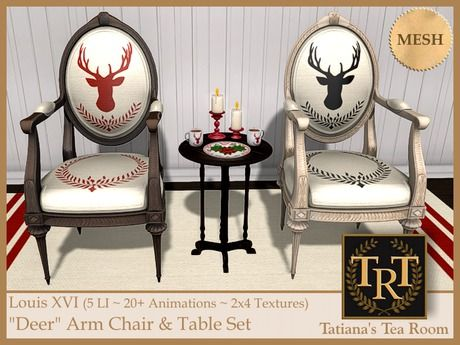 """Louis XVI """"Deer"""" Arm Chair & Table Set"""