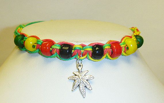 Rasta Ganja Love Hemp Bracelet Pot Leaf  by sherrishempdesigns