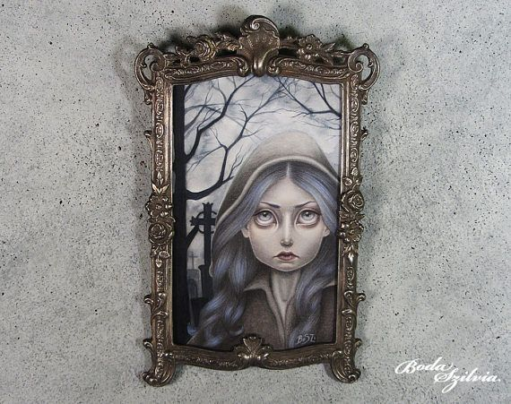 Vampire portrait  original framed art  semi realist portrait Anne Rice inspired by bodaszilvia on etsy