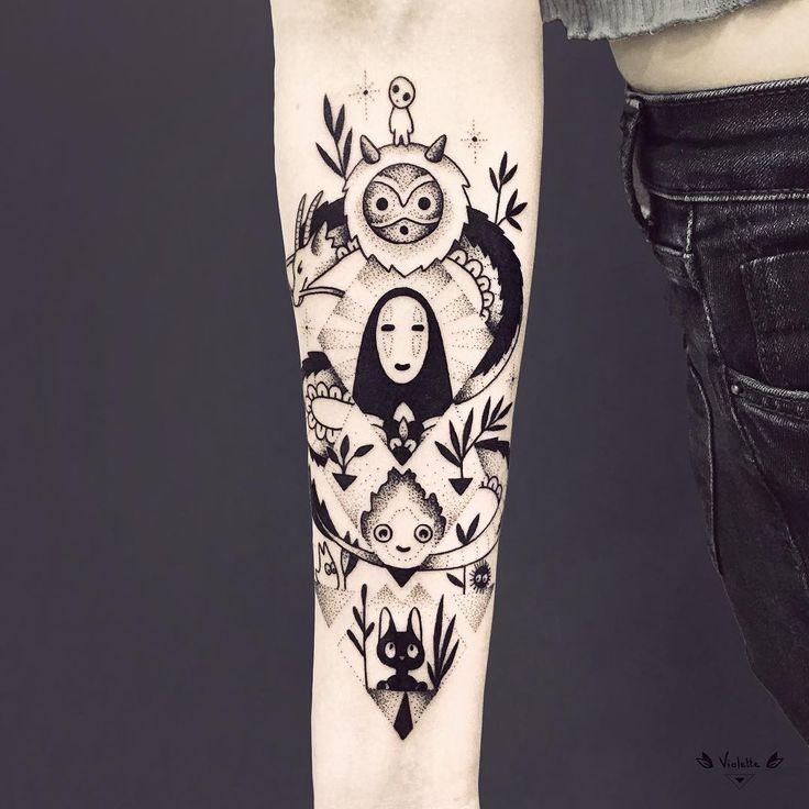 Geometric Studio Ghibli arm tattoo by violette_bleunoir