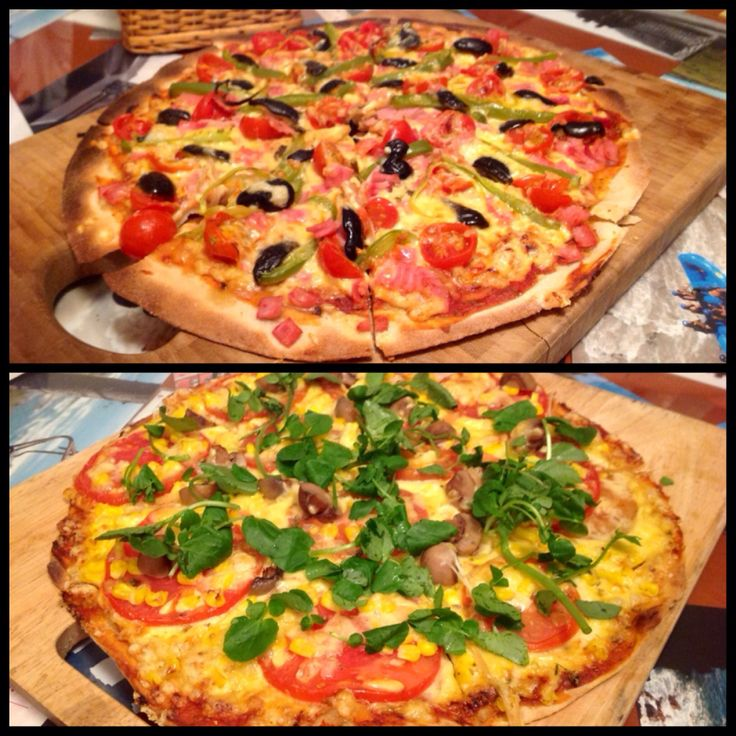 Pizza casera, Rucula y tomate cherry