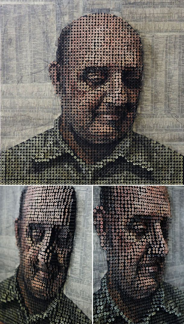 Portrait made of painted screws by Andrew Meyer