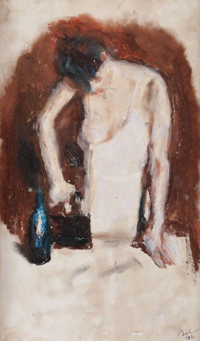 By Corneliu Baba (1906-1997), 1982,  Călcătoreasă, Ceracoat & gouache.