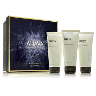 AHAVA Mineral Sparkle Holiday Gift Collection - $55.00. Moisturise and hydrate your hands, feet and body with Ahava's signature Dead Sea mineral trio. Powered by their exclusive OsmoterTM complex and natural plant extracts, this set instantly and effectively nourishes, smoothes and moisturises skin. Comes beautifully presented in an AHAVA holiday collection gift box.