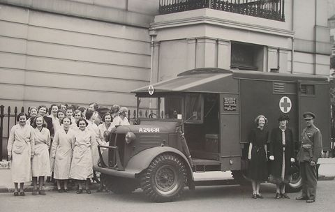 WI members raised money for ambulances. WI ambulance being handed over by Lady Denman outside the London HQ of NFWI, 1942.