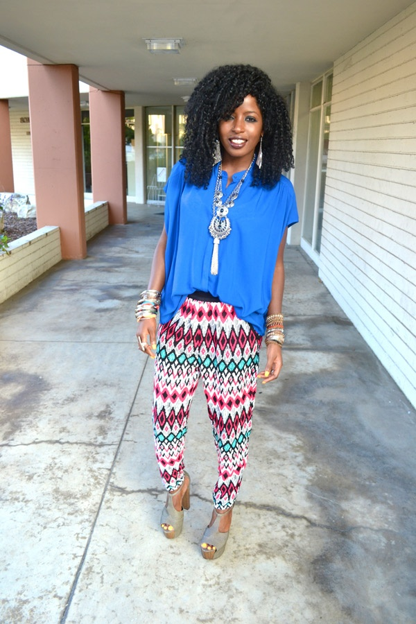 Kimono Shirt + Tribal Print Pants + Platforms