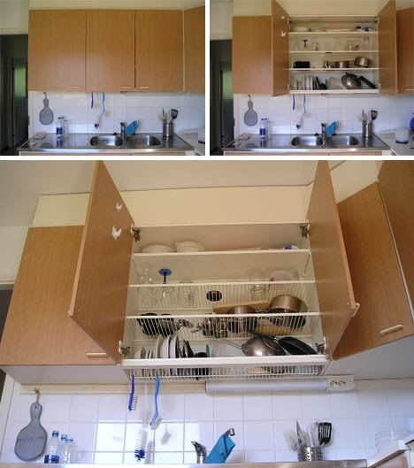 This is what I want NOW: a dish-draining cabinet. Instead of shelves, use open-bottomed slats to dry dishes. Water can drip down into the sink.