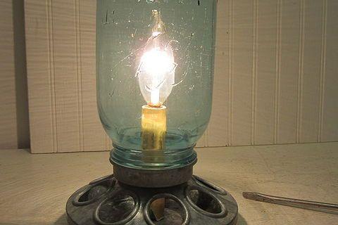 galvanized chicken feeder and mason jar repurposed into lamp, diy, lighting, mason jars, repurposing upcycling