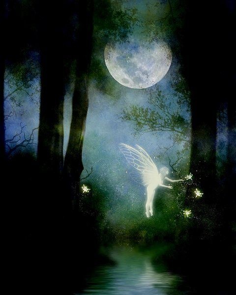 Beneath the silvery moon, the translucent fairy sets her magical lights to spellbind the lonely traveler . . .EDK: