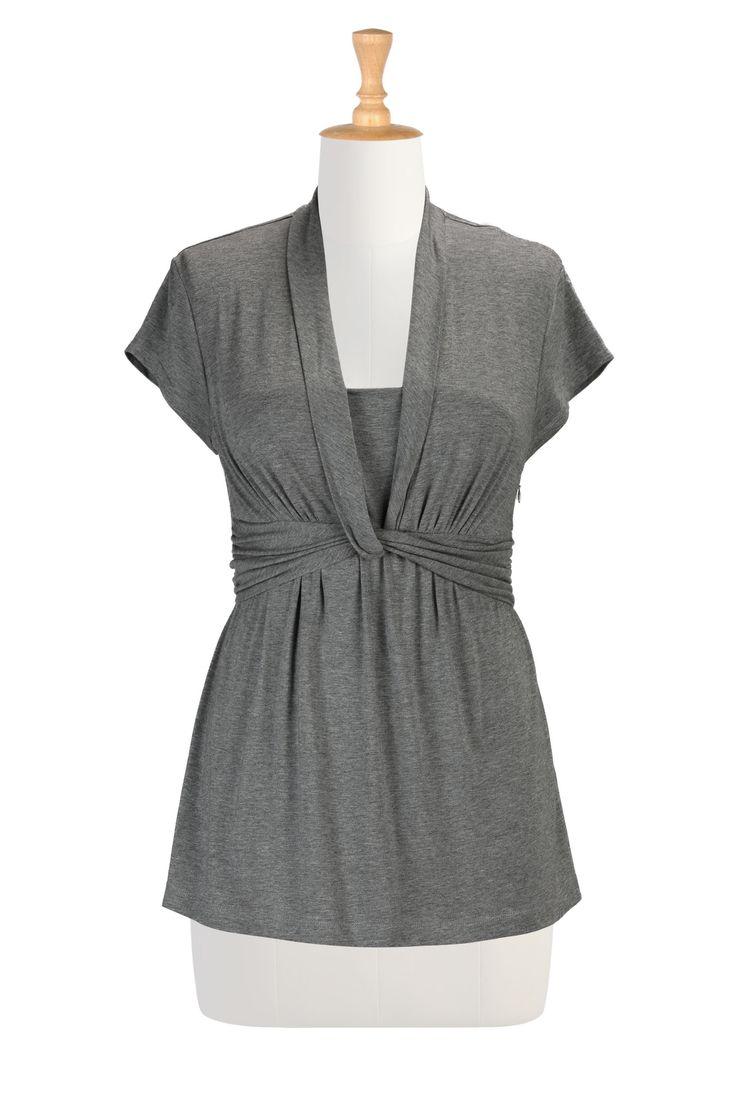 Knot front knit top   eShakti.com