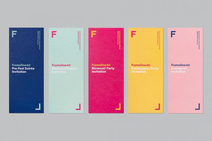 Brand identity and invitations by Mucho for San Francisco based LGBT film festival and non-profit arts organisation Frameline.