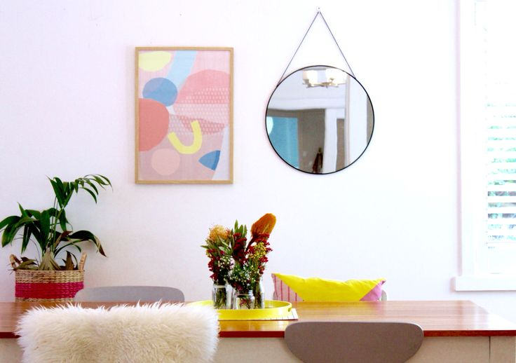 My dining room details-gorgeous print & target Mirror make a perfect combo! Via @k_bloves