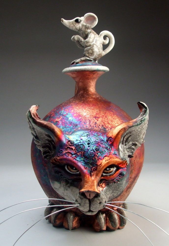 Cat and Mouse face jug pottery folk art raku sculpture by Mitchell Grafton