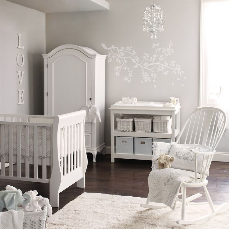 Little White Company U003e Elephant Nursery, All Grey And White
