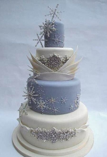 "Wouldn't this make a GORGEOUS cake for a ""Frozen"" themed  or winter wedding?"