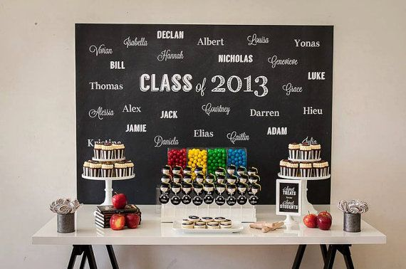 Black and White CHALKBOARD Graduation Party for kids Printable Backdrop - you print on Etsy, $25.00