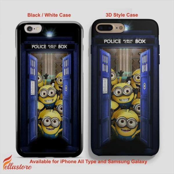 cool Tardis Meets Minion Doctor Who iPhone 7-7 Plus Case, iPhone 6-6S Plus, iPhone 5 5S SE, Samsung Galaxy S8 S7 S6 Cases and Other