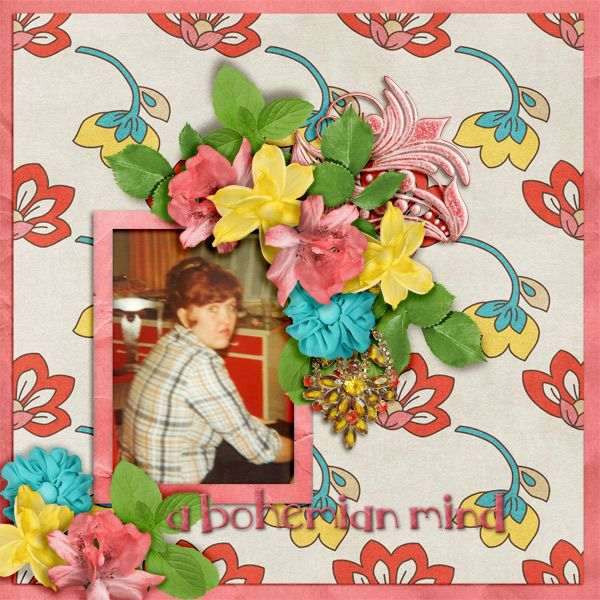 Bohemian Style by PattyB Scraps - Bold and rich in color, this digital scrapbooking collection, with a casual flair, is fun and easy to use.   Create layout pages using your colorful photos of family and friends, or vintage photos for beautiful heritage layouts.