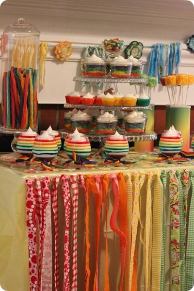 Ribbons Make A Cute Table Cover For A Colorful Party.
