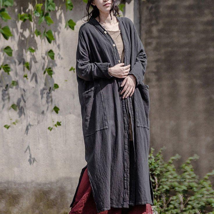 Women Linen Cardigan Cotton Tunic Retro Linen Windbreaker Jacket With Big Pockets by Minghuicoco on Etsy https://www.etsy.com/listing/504226074/women-linen-cardigan-cotton-tunic-retro
