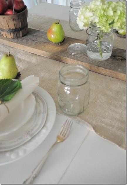 Mason jars and plank centerpiece