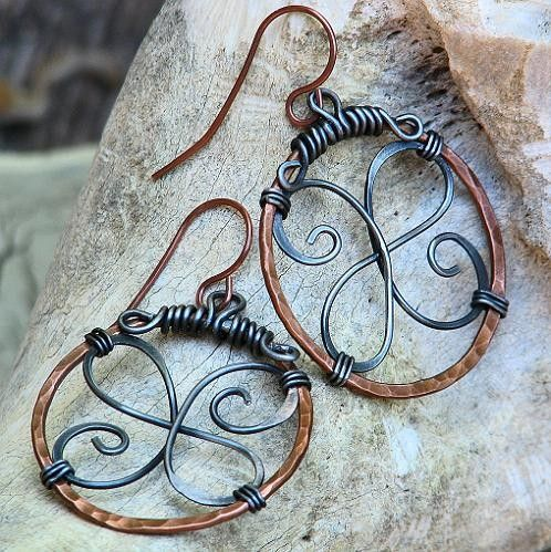 Artisan Celtic Hoop Earrings Wire Wrapped Mixed Metal Hammered Copper