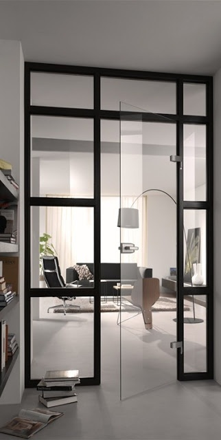 pve design. puerta de vidrio pivotante sin marco abisagrada a un perfil de aluminio?