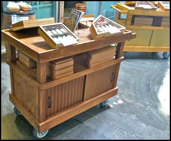 rustic wood rolling cart product display for portable product