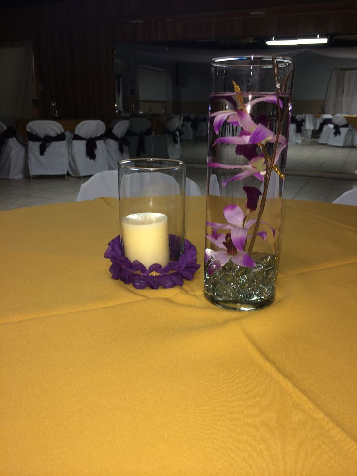 Centerpieces wedding party simple easy water candle