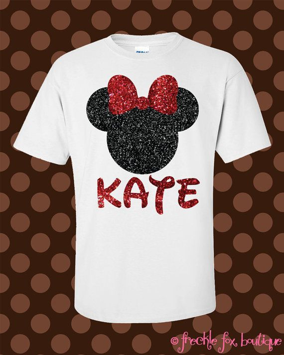 Custom Name Disney Minnie Mouse Mickey Glitter Short Sleeve Tee Shirt