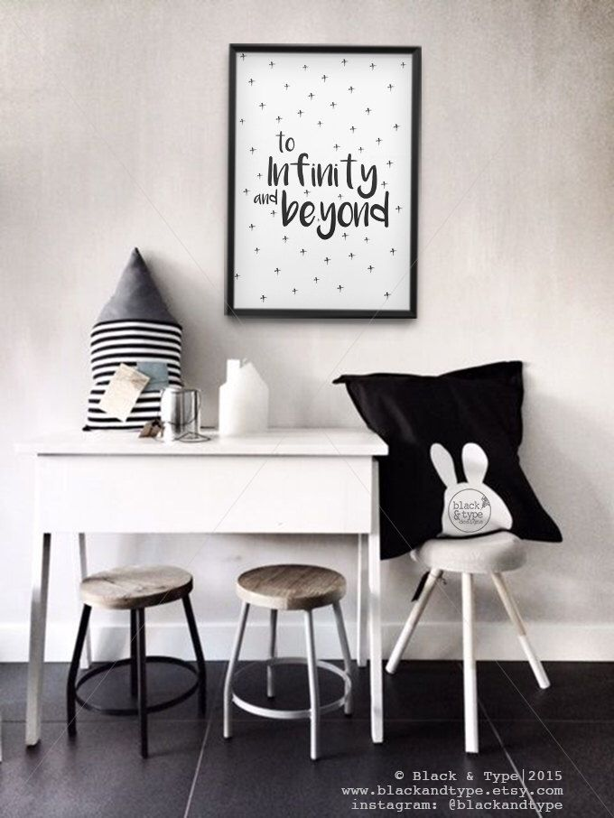 To Infinity and Beyond    buzz lightyear, toy story, monochrome print, infinity and beyond, kids prints, nursery art, playroom poster by BlackandType on Etsy https://www.etsy.com/uk/listing/255630833/to-infinity-and-beyond-buzz-lightyear