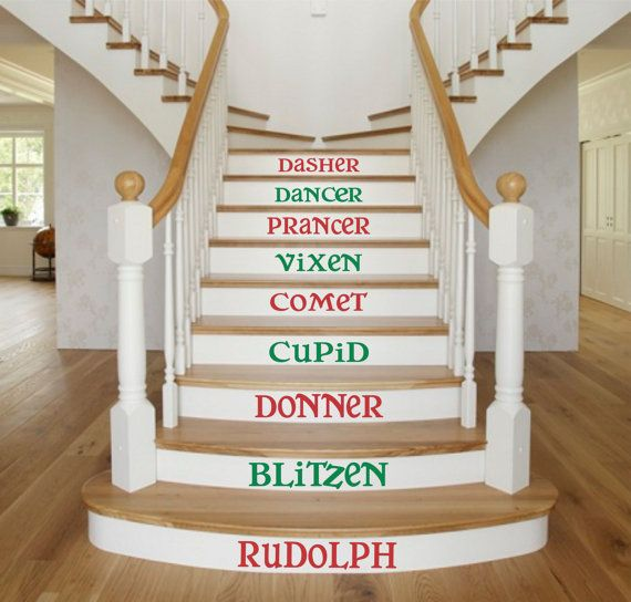 Reindeer Name Decals Christmas Stair Decals By SignJunkies On Etsy