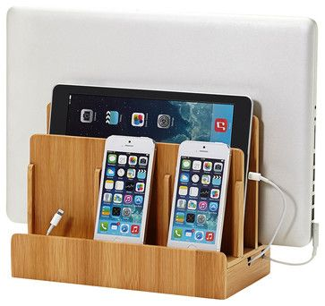Bamboo Multicharging Station - transitional - Desk Accessories - Great Useful Stuff