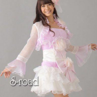 Amazon.co.jp: パーティドレス ウェディング 二次会ドレス ボレロ付 ライトパープル&ホワイトティアードミニドレス: 服&ファッション小物
