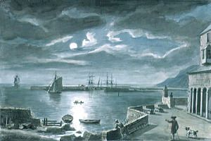 The Harbour and the Cobb, Lyme Regis, Dorset, by Moonlight  Copplestone Warre Bamfylde