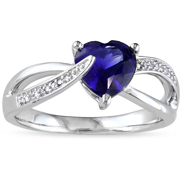 Miadora Sterling Silver Birthstone and Diamond Accent Heart Ring ($56) ❤ liked on Polyvore featuring jewelry, rings, silver, heart shaped rings, wide band rings, diamond accent rings, long rings and sterling silver jewelry