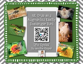 QR Code and Augmented Reality Scavenger Hunt for Life Cycles...free