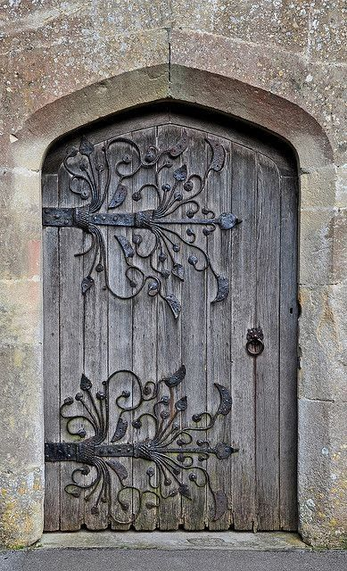 Wrought iron details on an old door.