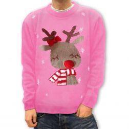 Różowy #renifer, #ciepły i wygodny #sweter na zimowe wieczory. http://swetryswiateczne.pl/pl/