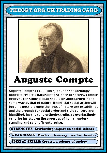 Auguste Compte - Theory.org.uk trading cards