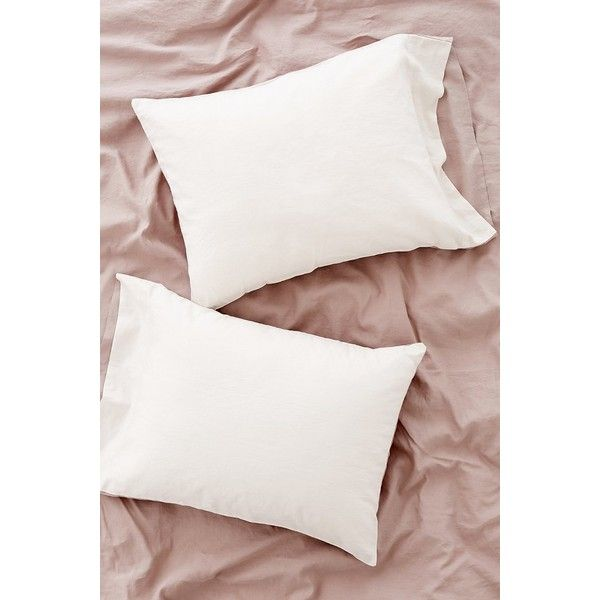 Reversible Linen Blend Pillowcase Set featuring polyvore, home, bed & bath, bedding, bed sheets, urban outfitters, couple pillowcases, cream bedding, urban outfitters bedding and cream colored bedding