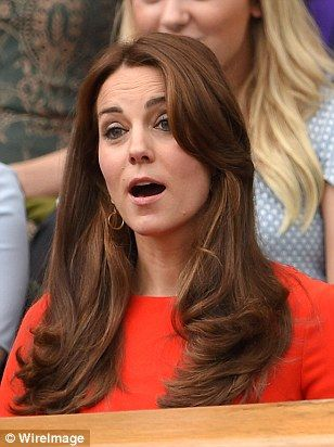 Catherine, Duchess of Cambridge  attends day nine of the Wimbledon Lawn Tennis Championships at the All England Lawn Tennis and Croquet Club on July 8, 2015 in London, England. The Duchess of Cambridge reacts to Andy Murray's quarter final match at Wimbledon today.